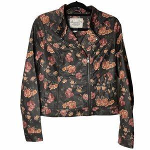 American Rag Faux Leather Floral Jacket Sz M